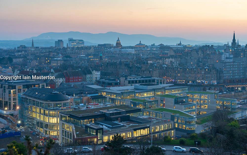 Edinburgh, Scotland, UK. 27 February, 2019. View t over famous Edinburgh Old Town skyline from Calton Hill in Edinburgh. New Waverley property development is in the foreground. Scotland, UK