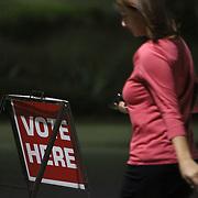 A voter walks into the Carolina Beach Recreation Center in Carolina Beach. (Jason A. Frizzelle)
