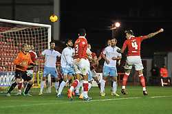 Bristol City's Aden Flint scores a goal. - Photo mandatory by-line: Dougie Allward/JMP - Mobile: 07966 386802 - 10/12/2014 - SPORT - Football - Bristol - Ashton Gate Stadium - Bristol City v Coventry City - Johnstone's Paint Trophy