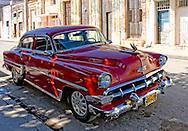 Red car in Cardenas, Matanzas, Cuba.