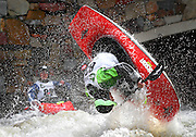SHOT 6/4/11 5:51:01 PM - Eric Jackson of Walling, Tenn. performs a loop during the Men's Kayak Freestyle Finals in the 10th Annual Teva Mountain Games in Vail, Co. Jackson finished second with a score of 810. Professional and amateur outdoor adventure athletes from the Vail Valley and around the world will converge upon the mountains and rivers of Vail to compete in eight sports and 23 disciplines including: x-country, freeride, slopestyle and road cycling, freestyle, 8-Ball, sprint and extreme kayaking, raft cross, World Cup Bouldering, stand up paddle sprint and surf cross, as well as trail, mud and road running, dog comps and the GNC Ultimate Mountain Challenge.. (Photo by Marc Piscotty / © 2010)