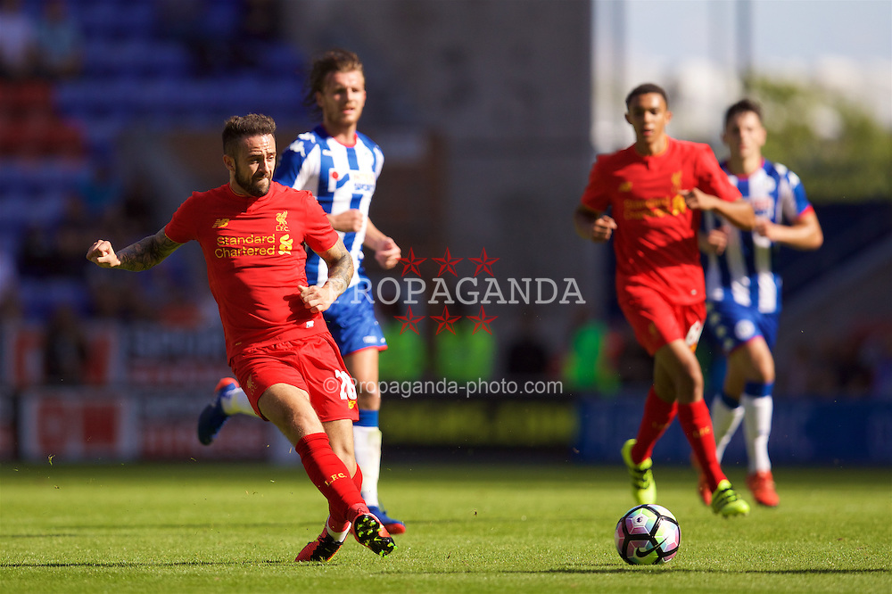 WIGAN, ENGLAND - Sunday, July 17, 2016: Liverpool's Danny Ings in action against Wigan Athletic during a pre-season friendly match at the DW Stadium. (Pic by David Rawcliffe/Propaganda)