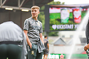 Jack Clarke of Leeds United (47) arrives at the ground during the EFL Sky Bet Championship match between Bristol City and Leeds United at Ashton Gate, Bristol, England on 4 August 2019.