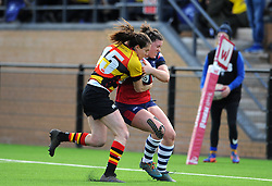 Rhi Parker of Bristol Bears Women is tackled by Wooden of Richmond Women - Mandatory by-line: Nizaam Jones/JMP - 23/03/2019 - RUGBY - Shaftesbury Park - Bristol, England - Bristol Bears Women v Richmond Women- Tyrrells Premier 15s
