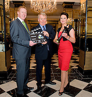 It's been a great year for TG4 news anchor Eimear Ní Chonaola having hosted the first ever Irish language leader's debate in February and now taking home three national media awards at the Oireachtas Media Awards with Gala. Gary Desmond, CEO Gala Retail and Liam Ó Maolaodha, Director of Oireachtas na Gaeilge  congratulated  Eimear who scooped the Gala Gael Star of the Year award at the annual ceremony, which took place in the Meyrick Hotel in Galway last night (Friday 27th May), beating off competition from Daithí Ó Sé, Aoibhinn Ní Shúilleabháin and Síle Seoige. .The Gala Gael Star award was the only award to be voted for by the public.  Readers of Foinse and Gala shoppers have voted in their hundreds over the past six weeks, with Eimear receiving the most votes, closely followed by the other three finalists.   Photo:Andrew Downes
