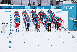 PYEONGCHANG-GUN, SOUTH KOREA - FEBRUARY 11: Start during the Cross-Country Men's Skiathlon at Alpensia Cross-Country Centre on February 11, 2018 in Pyeongchang-gun, South Korea. Photo by Kim Jong-man / Sportida