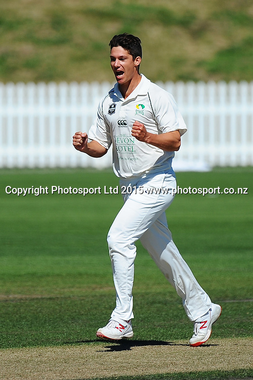 Central player Ben Wheeler celebrates the wicket of Canterbury player Ronnie Hira during their Plunket Shield match Central Stags v Canterbury at Saxton Oval, Nelson, New Zealand. Thursday 19 March 2015. Copyright Photo: Chris Symes / www.photosport.co.nz