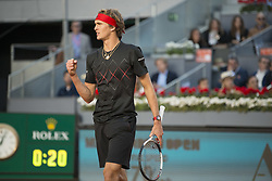 May 13, 2018 - Madrid, Madrid, Spain - ALEXANDER ZVEREV celebrates a point in a match against DOMINIC THIEM during the final of Mutua Madrid Open 2018 - ATP in Madrid. (Credit Image: © Patricia Rodrigues via ZUMA Wire)