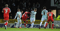 Walsall's Jordy Hiwula scores his sides goal - Photo mandatory by-line: Harry Trump/JMP - Mobile: 07966 386802 - 03/03/15 - SPORT - Football - Sky Bet League One - Yeovil v Walsall - Huish Park, Yeovil, England.