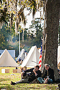 Union Civil War historic living history re-enactment of the Battle of Secessionville at Boone Hall Plantation November 9, 2008 in Mount Pleasant, SC.  The battle recreates the defeat of Union forces in 1862 in the only attempt to capture Charleston during the Civil War.