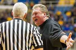 Dec 10, 2016; Morgantown, WV, USA; West Virginia Mountaineers head coach Bob Huggins argues a call during the first half against the Virginia Military Keydets at WVU Coliseum. Mandatory Credit: Ben Queen-USA TODAY Sports
