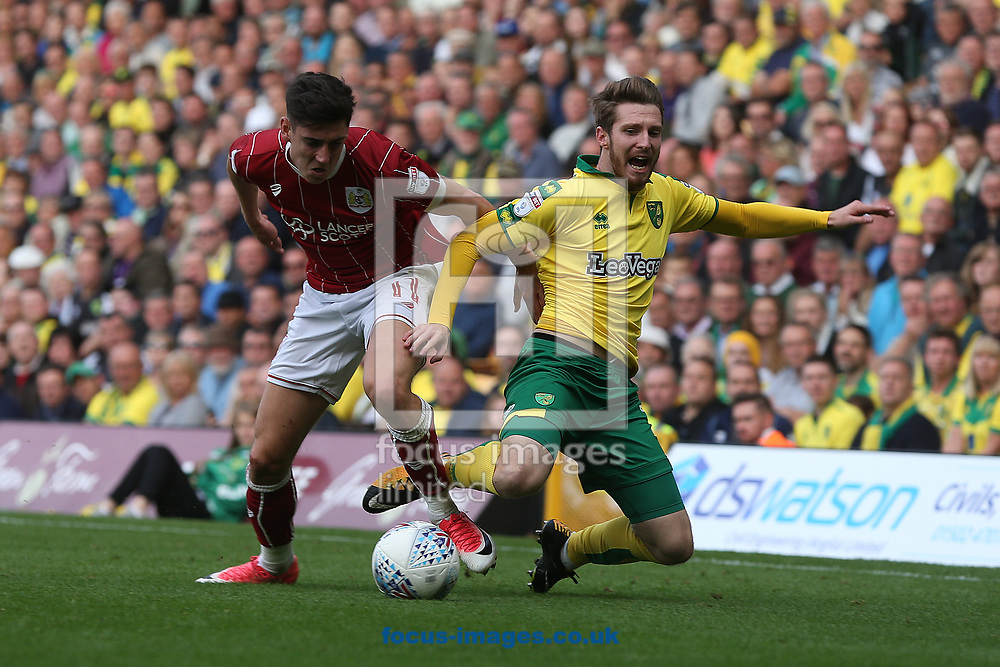 Callum O'Dowda of Bristol City and James Husband of Norwich in action during the Sky Bet Championship match at Carrow Road, Norwich<br /> Picture by Paul Chesterton/Focus Images Ltd +44 7904 640267<br /> 23/09/2017