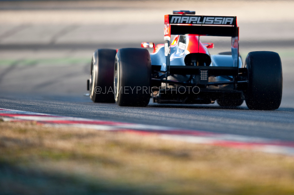 Charles Pic (FRA) drives the Marussia F1 Team MR01Formula One Testing, Circuit de Catalunya, Barcelona, Spain, World Copyright: Jamey Price
