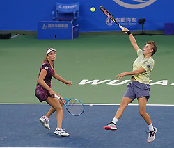 WUHAN, Sept. 29, 2018  Elise Mertens (L) of Belgium and Demi Schuurs of the Netherlands compete during the doubles final match against Andrea Sestini Hlavackova and Barbora Strycova of the Czech Republic at the 2018 WTA Wuhan Open tennis tournament in Wuhan, central China's Hubei Province, on Sept. 29, 2018. Mertens and Schuurs won 2-0 and claimed the title. (Credit Image: © Cheng Min/Xinhua via ZUMA Wire)