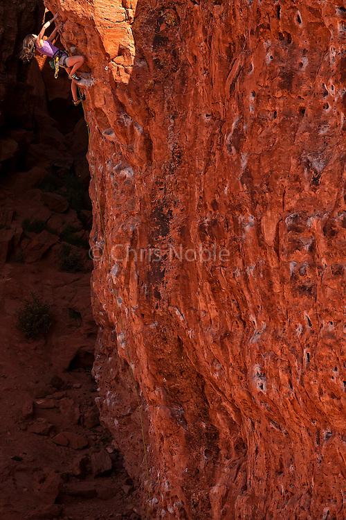"""Jacinda (JC) Hunter climbing """"Second Coming,"""" 12a, at the Chuckwalla Wall, St. George, Utah."""