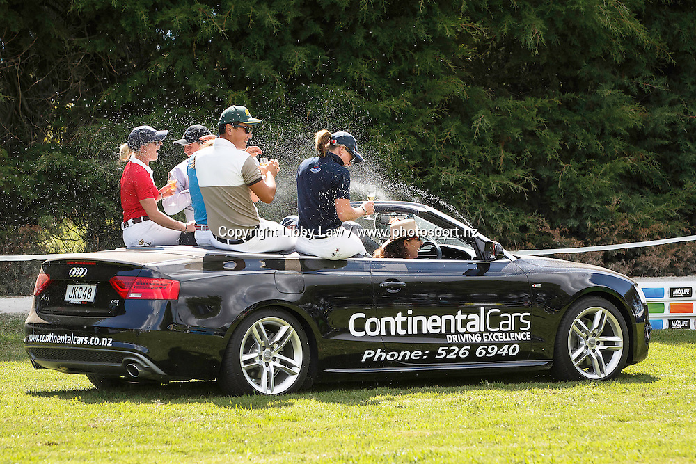 The cheeky driver cools the riders down with a little spray: WORLD CUP FINAL RIDERS HAVE A BIT OF FUN WITH AUDI: 2016 NZL-Continental Cars Audi World Cup Showjumping (Saturday 16  January) CREDIT: Libby Law COPYRIGHT: LIBBY LAW PHOTOGRAPHY