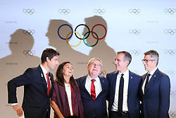 LIMA, Sept. 14, 2017  International Olympic Committee President Thomas Bach (C), Anne Hidalgo (2nd L), Mayor of Paris, Tony Estanguet (1st L), Co-chairman of Paris 2024, Eric Garcetti (2nd R), Mayor of Los Angeles, and Casey Wasserman, the chairman of LA 2028 take group photos after a joint press conference at the 131st IOC session in Lima, Peru, on Sept. 13, 2017. The IOC makes historic decision by simultaneously awarding Olympic Games 2024 to Paris and 2028 to Los Angeles on wednesday. (Credit Image: © Li Ming/Xinhua via ZUMA Wire)