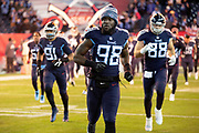 Tennessee Titans outside linebacker Brian Orakpo (98) runs onto the field with teammates during pregame player introductions before the week 14 regular season NFL football game against the Jacksonville Jaguars on Thursday, Dec. 6, 2018 in Nashville, Tenn. The Titans won the game 30-9. (©Paul Anthony Spinelli)