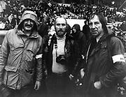 L-R: Colin Eskey (England), John Rubython (South Africa) and Peter Bush (New Zealand).<br /> Photographers at Murrayfield Stadium, Edinburgh, Scotland during a New Zealand All Blacks v Scotland match. Circa 1970's.<br /> Copyright photo: Norman Smith / www.photosport.co.nz