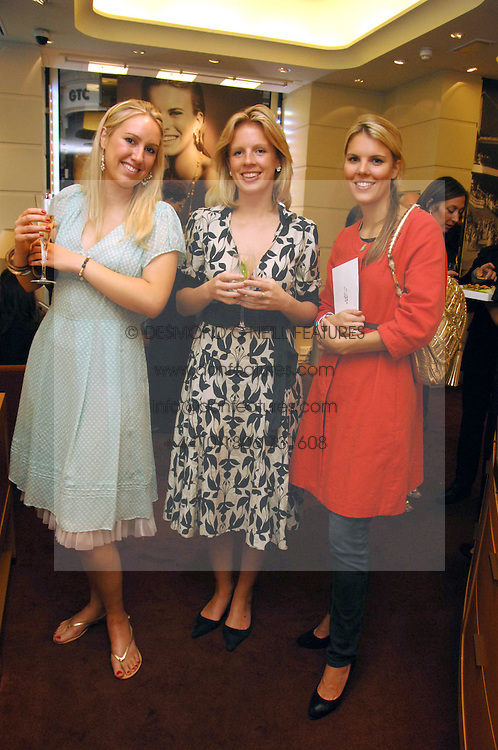 Left to right, CAROLINE CAVE, ROWENA TUDOR-EVANS and The HON.VIRGINIA FRASER daughter of Lord Strathalmond at a party hosted by Links of London to celebrate the forthcoming Glorious Goodwood racing event held at links, Sloane Square, London on 25th July 2007.<br />