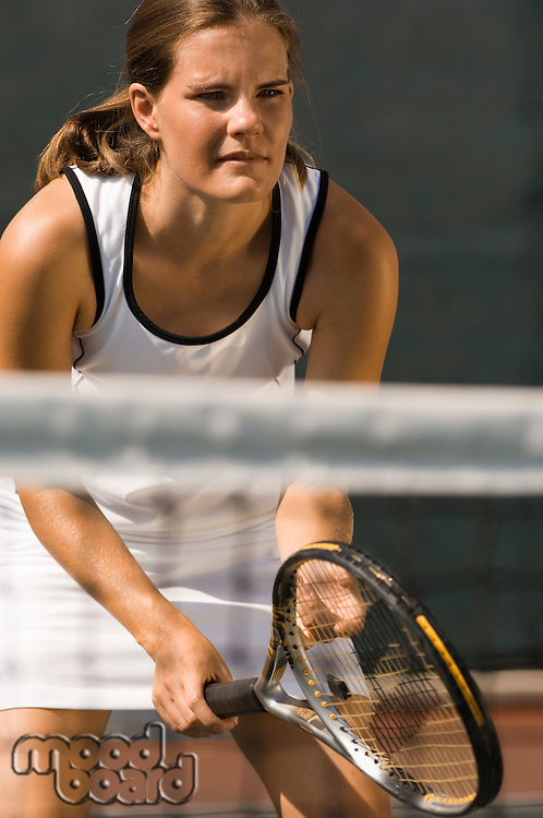 Tennis Player holding racket Waiting For Serve
