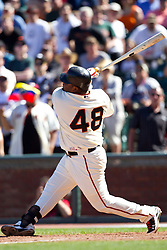 May 30, 2010; San Francisco, CA, USA;  San Francisco Giants third baseman Pablo Sandoval (48) at bat against the Arizona Diamondbacks during the ninth inning at AT&T Park.  San Francisco defeated Arizona 6-5 in 10 innings.