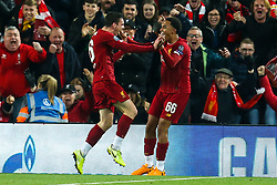 Andrew Robertson of Liverpool celebrates with teammate Trent Alexander-Arnold of Liverpool after scoring a goal to make it 2-0 - Mandatory by-line: Robbie Stephenson/JMP - 02/10/2019 - FOOTBALL - Anfield - Liverpool, England - Liverpool v Red Bull Salzburg - UEFA Champions League Group Stage