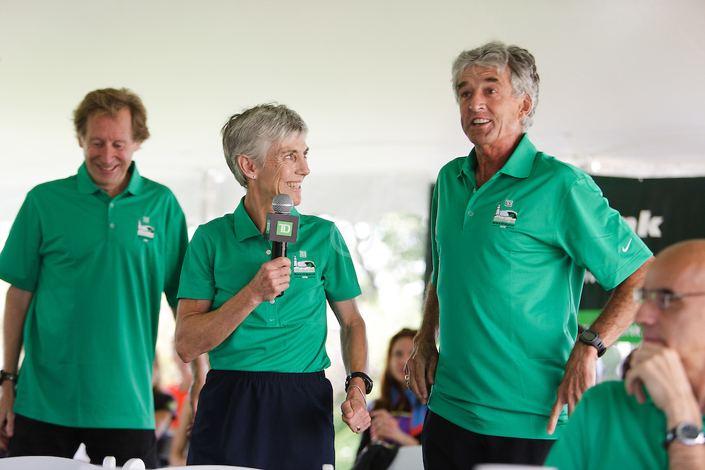 Joan Samuelson, Beach to Beacon 10K race founder , elite athlete and charity recipient (Center For Grieving Children) press conference , Joan Benoit Samuelson , Bill Rodgers , Olympic Gold Medalist Frank Shorter