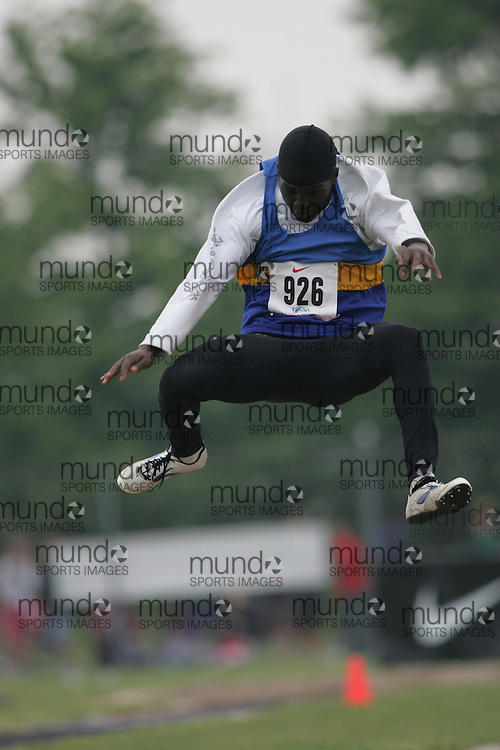 Hamilton, Ontario ---05/06/08--- Brian Okeny of L. B. Pearson in Gloucester competes in the junior boys long jump at the 2008 OFSAA Track and Field meet in Hamilton, Ontario..Sean Burges