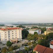 Modern buildings in downtown Hue, Vietnam.