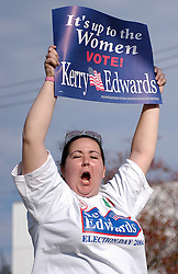 Maria Pisano shows her support for Kerry on election day November 2nd, 2004.
