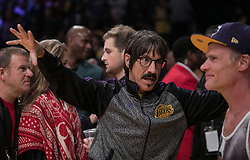 October 20, 2018 - Los Angeles, California, U.S - Anthony Kiedis and Flea of Red Hot Chili Peppers attend the NBA game between the Los Angeles Lakers and the Houston Rockets on Saturday October 20, 2018 at the Staples Center in Los Angeles, California. (Credit Image: © Prensa Internacional via ZUMA Wire)