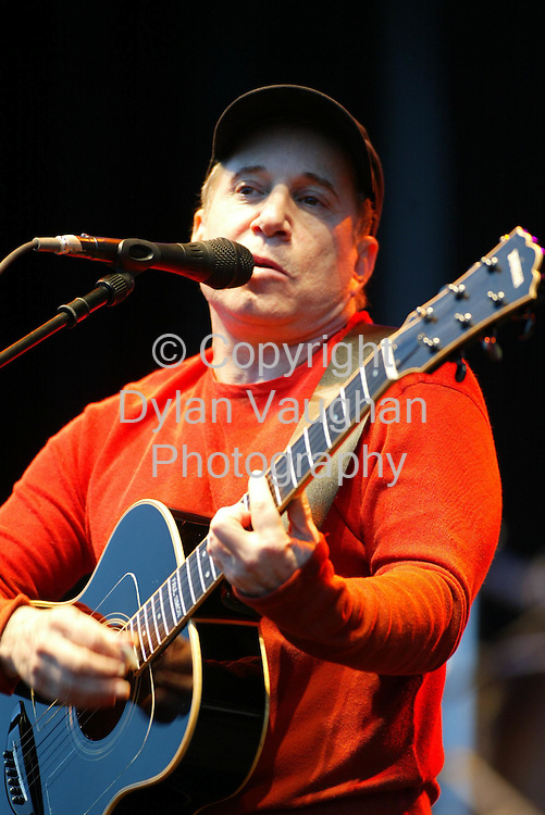 28/7/2002 Irish Indpendent News.Paul Simon pictured in action at the Smithwicks Source Festival in Nowlan Park on Saturday..Picture Dylan Vaughan