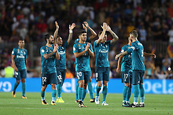 August 13, 2017 - Barcelona, Spain - Players of Real Madrid celebrate victory at the end of  the Spanish Super Cup football match between FC Barcelona and Real Madrid on August 13, 2017 at Camp Nou stadium in Barcelona, Spain. (Credit Image: © Manuel Blondeau via ZUMA Wire)