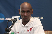 Vincent Kiprop of Alabama reacts during a press conference prior to the NCAA cross country championships at the Sawyer Hayes Community Center in Louisville, Ky. on Friday, Nov. 17, 2017.