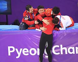 PYEONGCHANG, Feb. 22, 2018  Wu Dajing (C) of China welcomes congratulation after winning men's 500m final of short track speed skating at the 2018 PyeongChang Winter Olympic Games at Gangneung Ice Arena, Gangneung, South Korea, Feb. 22, 2018. Wu Dajing claimed gold medal in a time of 0:39.584 and set new world record. (Credit Image: © Wang Haofei/Xinhua via ZUMA Wire)