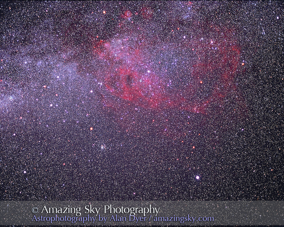 False Cross area of Vela-Carina, and Puppis clusters shot from Australia December 2003. Shows Gum Nebula well and various naked eye clusters of Puppis and around False Cross. Canopus at lower right...Shot with 90mm lens at f/3.5 on 120-format Ektachrome E200 slide film, for 23 minute exposure with Pentax 6x7 camera..Glow layer added in photoshop to fuzz stars.