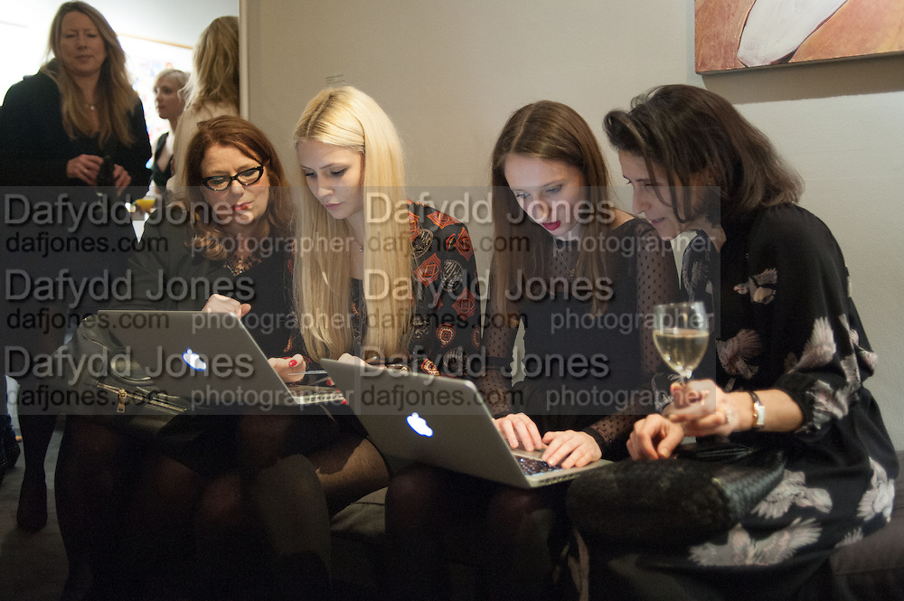DOROTHY CORY-WRIGHT; CHARLIE SIDDICK; RUBY ADAMS; PATRICIA MILLETT, The Culture Whisper Launch party. Royal College of art. Royal College of Art, Kensington Gore. London. 28 January 2014
