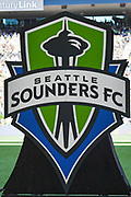 The logo of the Seattle Sounders before the MLS soccer match against the LA Galaxy on Saturday, September 1, 2019, in Seattle, Washington. (Alika Jenner/Image of Sport via AP)