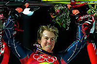 Photo: Catrine Gapper.<br /> Winter Olympics, Turin 2006. Alpine Skiing Men's Combined Slalom. 14/02/2006. Ligety Ted (USA) celrbates gold medal in the mens combined slalom.