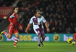 Aston Villa's Gabriel Agbonlahor scores the opening goal of the game. - Photo mandatory by-line: Alex James/JMP - Tel: Mobile: 07966 386802 04/12/2013 - SPORT - Football - Southampton - St Mary's Stadium - Southampton v Aston Villa - Barclays Premier League