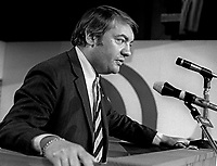 Dr David Thornley, politician, Rep of Ireland Labour Party, university professor, Trinity College, Dublin, speaking at a Labour Party function February 1972.  He died 18th June 1978 aged 43 years. He was born in Surrey, England. Took out Irish citizenship. 197202000131<br /> <br /> Copyright Image from Victor Patterson, 54 Dorchester Park, Belfast, UK, BT9 6RJ<br /> <br /> t1: +44 28 9066 1296 (from Rep of Ireland 048 9066 1296)<br /> t2: +44 28 9002 2446 (from Rep of Ireland 048 9002 2446)<br /> m: +44 7802 353836<br /> <br /> e1: victorpatterson@me.com<br /> e2: victorpatterson@gmail.com<br /> <br /> The use of my copyright images is subject to my Terms & Conditions.<br /> <br /> It is IMPORTANT that you familiarise yourself with them. They are available on my website at www.victorpatterson.com.<br /> <br /> None of my copyright images may be used on a website unless they are visibly watermarked, i.e. © Victor Patterson within the body of the visible image. Metadata denoting my copyright must NOT be deleted. <br /> <br /> Web use is extra at currently recommended NUJ rates.