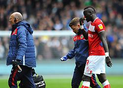 Famara Diedhiou of Bristol City picks up an injury- Mandatory by-line: Nizaam Jones/JMP - 27/04/2019 - FOOTBALL - Ashton Gate - Bristol, England - Bristol City v Derby County - Sky Bet Championship