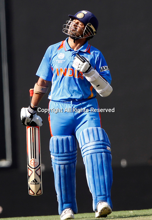 12.03.2011 Cricket World Cup India v South Africa from Nagpur. Sachin Tendulkar  of india celebrate scoring a fifty during the match of the ICC Cricket World Cup between India and South Africa.