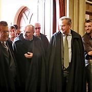 Carlo De Benedetti con Oscar Farinetti<br /> Università degli Studi di Scienze Gastronomiche di Pollenzo.<br /> celebrazione dei nuovi dottori in Scienze Gastronomiche<br /> 10 marzo 2014 Graduation Day