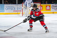 KELOWNA, CANADA - DECEMBER 7: Nick Merkley #10 of the Kelowna Rockets receives a pass against the Kootenay Ice on December 7, 2013 at Prospera Place in Kelowna, British Columbia, Canada.   (Photo by Marissa Baecker/Shoot the Breeze)  ***  Local Caption  ***