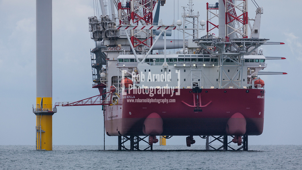 Seajacks Scylla working on the construction of Walney Extension Offshore Wind Farm in the Irish Sea, UK
