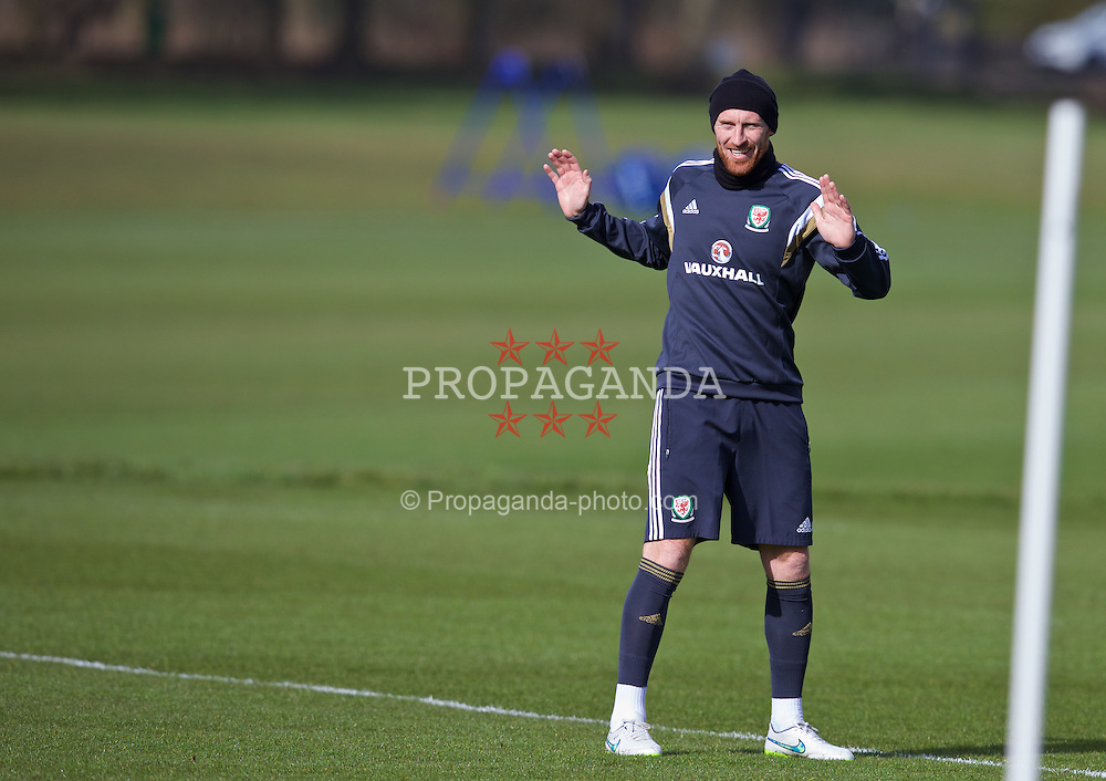 CARDIFF, WALES - Tuesday, March 24, 2015: Wales' James Collins during a training session at the Vale of Glamorgan ahead of the UEFA Euro 2016 qualifying Group B match against Israel. (Pic by David Rawcliffe/Propaganda)