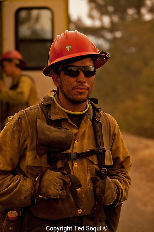 """US Forest Service """"Hot Shot"""" in the mountains of the Angeles Forest..Station Fire.."""