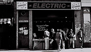 The bootleg tape stall outside the Electric Ballroom in Camden, London, UK, 1985